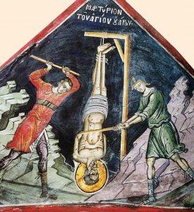 Мучение святого Уара. Фреска, 1547 год. Афон (Дионисиат)